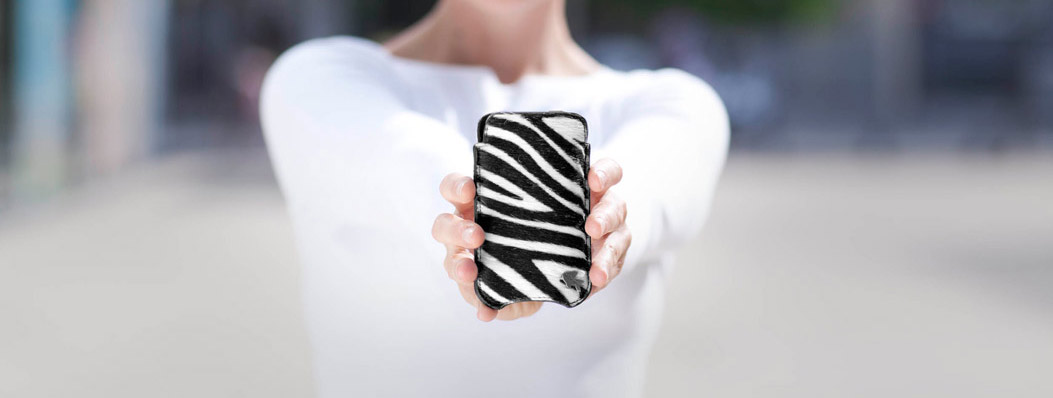 iPhone hoesje zebra leer